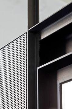 Steel frame and perforated panels. Hangar Artistic Creation Centre | Yaiza Terré + Arantxa Manrique