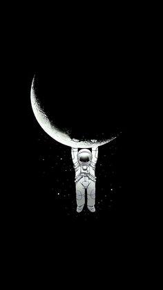 Ay ve Astronot Duvar Kağıdı - CediART   Ruang angkasa, Lukisan galaksi, Seni gelap