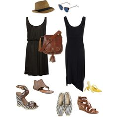 Earthy Casual Dress, Hat and Bag, created by youlookfab on Polyvore