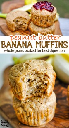 These muffins are filled with everyone's favorites: peanut butter and bananas! A little sweet, a little savory, a whole lotta yum. Serve these peanut butter banana muffins with your favorite jam. Peanut Butter Roll, Healthy Peanut Butter, Peanut Butter Recipes, Peanut Butter Banana, Healthy Treats, Healthy Baking, Healthy Habits, Healthy Food, Healthy Recipes