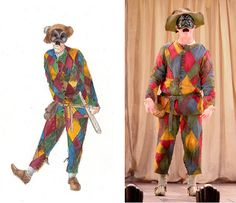truffaldino - The Servant of Two Masters Jester Costume, Circus Costume, Halloween Clown, Halloween Costumes, Medieval Jester, Carlo Goldoni, Costume Design Sketch, Costumes Couture, Emperors New Clothes
