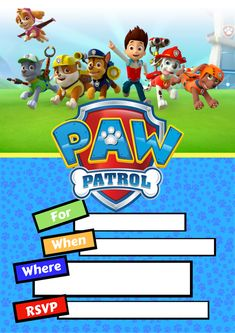 ideas for party invitations kids paw patrol Paw Patrol Birthday Decorations, Paw Patrol Birthday Theme, 1st Boy Birthday, Boy Birthday Parties, Birthday Ideas, Free Party Invitations, Paw Patrol Birthday Invitations, Invites, Cumple Paw Patrol