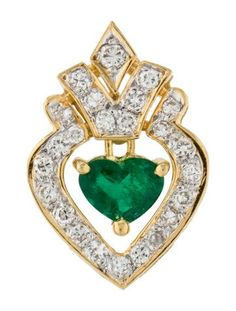 MALEFICENT's HEART 18K EMERALD & DIAMOND PENDANT $375.00 NOW $300.00 - 20% OFF PRODUCT DETAILS 18K yellow gold pendant featuring 0.49 carats of round brilliant diamonds and 0.42 carat of green emerald with high polish finish throughout.