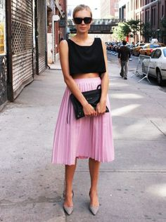 coloured pleated skirt