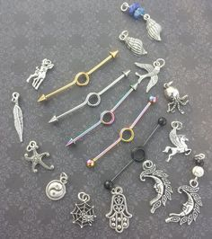 Customizable Industrial Piercing Barbell by SubtleDistinctions ^^^^^^ you can customize! Ear Piercings Chart, Cute Ear Piercings, Piercing Ring, Piercing Tattoo, Industrial Bar Earring, Industrial Piercing Jewelry, Industrial Piercing Barbells, Industrial Bars, Body Jewellery