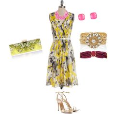 """""""pink & yellow floral"""" by ceepink on Polyvore"""