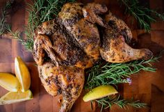 Do you make roast chicken? Have you ever butterflied your chicken before roasting? This butterflied roast chicken recipe will blow you away with it's flavors and impress you with tenderness! Gourmet Recipes, Cooking Recipes, Healthy Recipes, Roast Chicken Recipes, Fresh Cream, Food Print, Raspberry, Healthy Eating, Herbs
