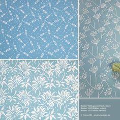 Wandgestaltung mit blauen Mustern ... z.B. Blätter und Gräser. pattern based wall design in blue colours.
