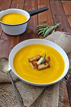 Six more weeks of winter. We've got this!  Roasted Butternut Squash Soup with Sage Croutons | Udi's® Gluten Free Bread
