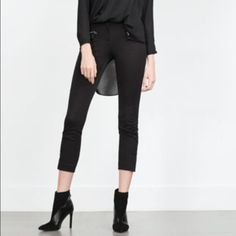 Zara! Stretch Micro Suede Riding Style Pants! New, never worn with out tags. Super stretch micro fiber suede Zara pants! Super soft and feels amazing on skin. Cut to fit like a low waist legging! Zipper on front and at ankles. Navy Blue Micro suede fabric in front and black stretch cotton spandex fabric on back. Size XL and true to Zara XL sizing. 33 inch waist and 25 inch inseam. Zara Pants Skinny