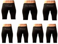 This listing is for a customized Bridal Party Package with EIGHT Fold Over Yoga Pants Package with custom bridal rhinestones. This item is