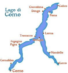 Lake Como Map Showing Top Places to Visit.  Come with me and we will visit several of these places.