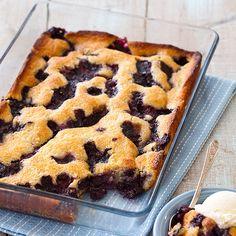 Texas style blueberry cobbler --- A cobbler made with a thick, pancake-like batter? <em>Really?</em></p>