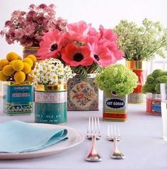 Flowers in vintage tins
