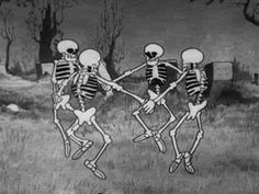 """Time for Spooky Party, Funnyjunk! Everybody is having a Halloween party so Funnyjunk should have one too. Post music, dance gifs and have a Spooky time. """"Is this the skeleton dance? Halloween Gif, Halloween Wallpaper, Vintage Halloween, Halloween Crafts, Halloween Pictures, Halloween Skeletons, Happy Halloween, Disney Halloween, Vintage Cartoons"""