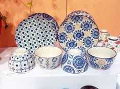 vaiselle ethnique bleue