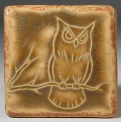 Owl tile from Pewabic Pottery.