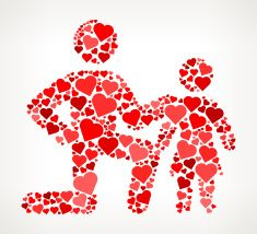 Father and Daughter Red Hearts Love Pattern vector art illustration