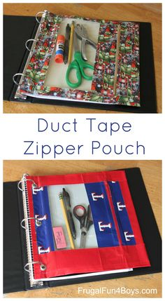 How to Make a Duct Tape Zipper Pouch for  3-Ring Binder