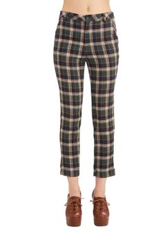 No Matter Putt Pants. Reliably dapper on a cool day, these plaid trousers are a failsafe fashion choice. #green #modcloth