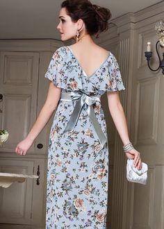 Ruffle Maxi Maternity Dress (Duck Egg Blue)