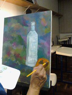 Pintura acrílica cores primárias e branco de modelo