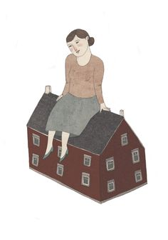 house sitting postcard by Lizzy Stewart