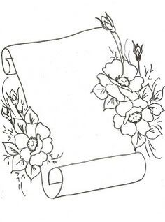 T T scroll with flowers Page Borders Design, Border Design, Pencil Art Drawings, Art Drawings Sketches, Hand Embroidery Patterns, Embroidery Designs, Diy Planner, Glass Engraving, Borders For Paper