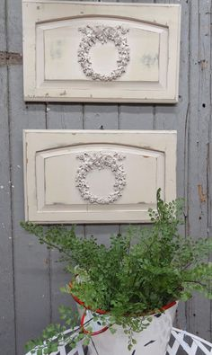 LittleMissMaggie: French Wreath Garden Panels using cabinet doors and appliques