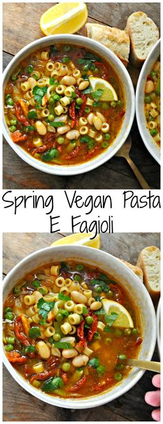 Spring Vegan Pasta E Fagioli. Spring Vegan Pasta E Fagioli - Rabbit and Wolves. An amazing vegan version of the classic pasta e fagioli with spring veggies. Healthy, hearty and so delicious! Pasta E Fagioli, Pasta Recipes, Soup Recipes, Vegetarian Recipes, Cooking Recipes, Healthy Recipes, Dinner Recipes, Vegan Squash Recipes, Vegetarian Times