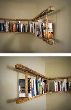 alte holzleiter wandregal selber machen make old wooden ladder wall shelf yourself Pin: 600 x 901 Old Wooden Ladders, Ladder Bookshelf, Bookshelf Ideas, Shelving Ideas, Creative Bookshelves, Diy Ladder, Storage Ideas, Bookshelves For Small Spaces, Homemade Bookshelves
