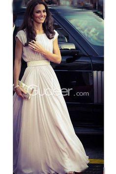 Ivory Short Sleeve Pleated Long Chiffon Evening Dress