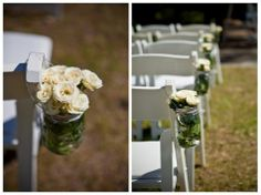Mason jars with flowers down the aisle