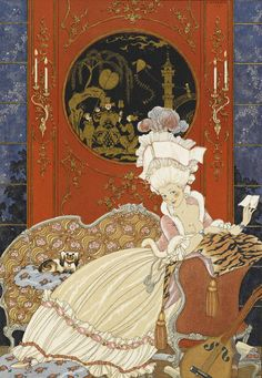 Lettre, from Paul Verlaine, Fêtes galantes, 1928  by George Barbier (French 1882-1932)