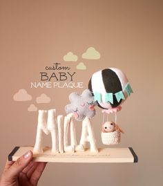 Hot Air Balloon Nursery Decor Baby Name Plaque by mukibaba on Etsy