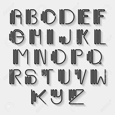 Original curved latin alphabet set. Linear uppercase modern font, typeface, english alphabet with long shadow effect. Contemporary vision of vintage Art Deco typography style. Vector design element Stock Vector - 55092397