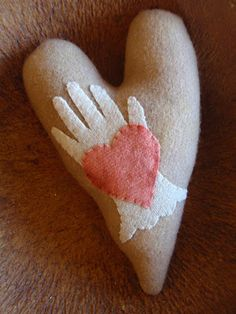 Felted Valentine heart & hand!