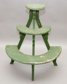 454 Six Tier Half Round Plant Stand With Green Paint A On