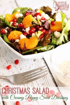 Christmas Salad with Creamy Poppy Seed Dressing. This Christmas Salad is the perfect side dish for your special holiday dinners. The dressing is so creamy and delicious-- it will be a new family favorite!