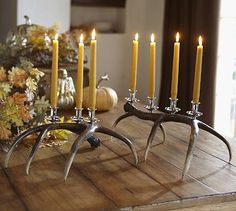 Faux Antler Candelabra #potterybarn - I could totally make these with real antlers