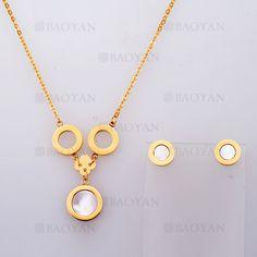 collar y aretes con piedra de dorado en acero-SSNEG804092
