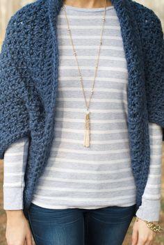 Medium/Large Crochet Blanket Shrug Sweater, Charcoal Crochet ...