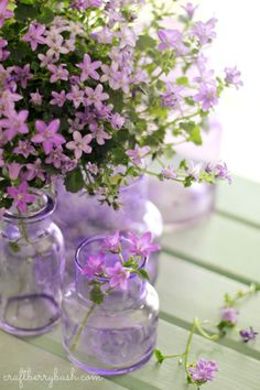 OH WOW!! - THESE SMALL CONTAINERS 'BLUSHING WITH PURPLE' AND MATCHED WITH THESE GORGEOUS FLOWERS, IS SIMPLY DIVINE!!