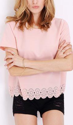 Pink hollow T-Shirt. Super cute!