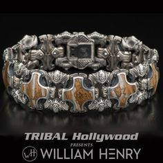 William Henry MAMMOTH TOOTH SHIELD Mens Bracelet in Sterling Silver