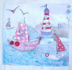 priscilla jones Light+House+and+Boat. Free Motion Embroidery, Free Machine Embroidery, Free Motion Quilting, Embroidery Applique, Sewing Crafts, Sewing Projects, Sewing Art, Nautical Quilt, Fabric Cards