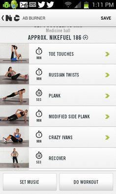 Nike Training Club app is a great FREE source for workout ideas for home or gym. | via