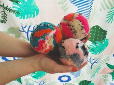 Pom Poms | Rachel Burke (with our Patchwork Jungle Duvet in the background)!