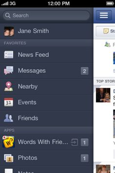 facebook slide-over menu