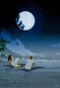 Mid Night Pic Nic by Pascal Campion Image Couple, Couple Art, Couple Illustration, Illustration Art, Pascal Campion, Romantic Photos, Vincent Van Gogh, Love Art, Oeuvre D'art